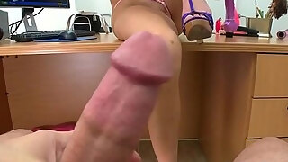 cute mommy lezdom like to screw gives head and then tongues on stylish rod