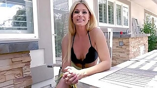 sexy golden haired milf stepmother deep throats her stepsons large wang