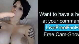 milf with biggest love bubbles rails fake penis on web web camera