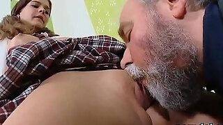 lovesome school beauty acquires enticed and permeated by her mature educator