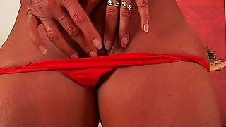 mature golden haired with pretty figure copulates a sex toy