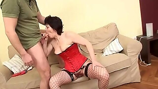 mature slut in red lingerie loves sucking young cock
