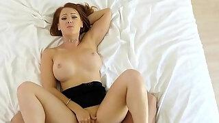 hot redhead stepmom dani jensen catches son wanking to milf porn