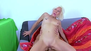 mature platinum blonde pounded by young stud
