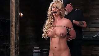busty golden haired milf acquires lift in dungeon space