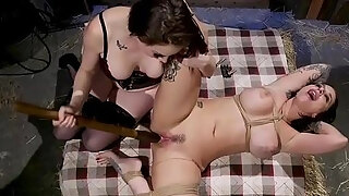tied up breasty playgirl anal invasion banged in barn