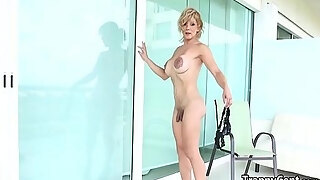 milf shelady plays with large rubber marital device