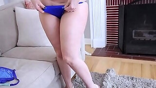 chubby milf stepmom in tighty underware copulates a stepson