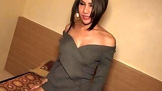 mature lady man with a humungous penis receives it