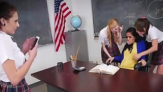 amateur lesbos take up with the tongue bawdy cleft and receive fingering in classroom