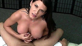 sexy milf lap dance with edging handjob and titty pumping